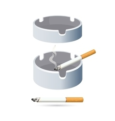 Two cigarettes and ashtrays isolated on white vector image
