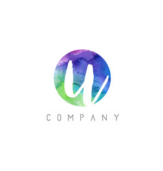 u watercolor letter logo design with circular vector image