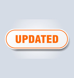 Updated sign updated rounded orange sticker vector