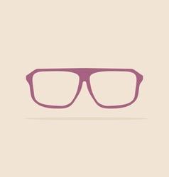 Violet nerd glasses on pastel background vector