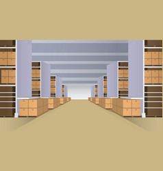 warehouse with rows of shelves vector image