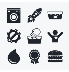 Wash icons Machine washable at thirty degrees vector image