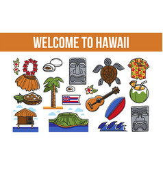 Welcome to hawaii promo banner with country vector