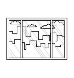 window interior building urban view outline vector image