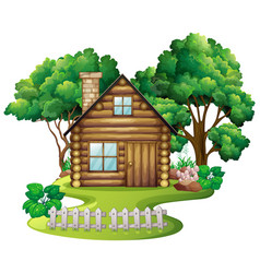 Wooden cottage in nature vector