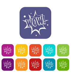 wow explosion effect icons set flat vector image