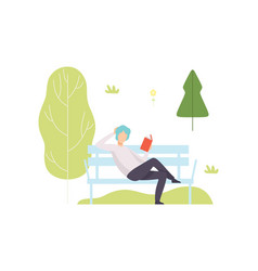 young man sitting on bench and reading book in vector image