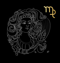 Zodiac sign virgo isolated on black background vector