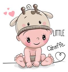 Cute cartoon baby boy in a giraffe hat vector