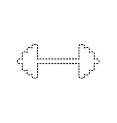 dumbbell weights sign black dashed icon vector image vector image
