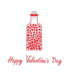Love bottle with hearts Happy Valentines Day vector image vector image