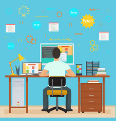 Man programmer back working on his PC computer vector image vector image