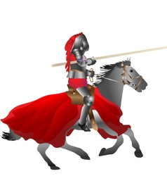medieval armored knight armed with pike jousting o vector image