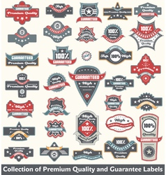 Premium quality and guarantee label collection vector