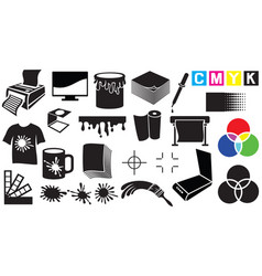 printing icons set vector image vector image