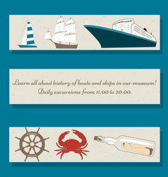 set of flyer templates with ships crab wheel vector image vector image