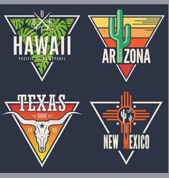 set of hawaii arizona texas new mexico tee prints vector image
