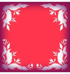 Silhouette leaves flowers and feathers on red vector image