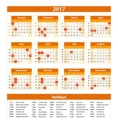 Wall Calendar Planner for 2017 Year Design Print vector image