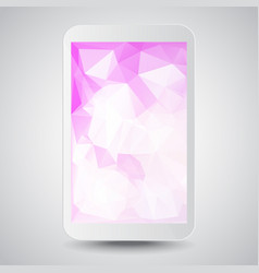white modern gadget with pink polygonal background vector image