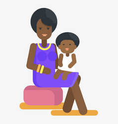 afro-american woman holds child on knees vector image vector image