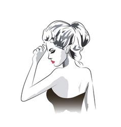 beautiful woman in dress portrait vector image vector image