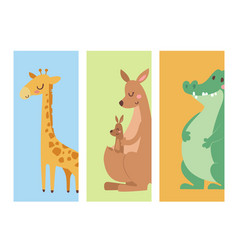 Cute zoo cartoon animals cards funny wildlife vector