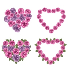 Hearts flower set 02 vector image