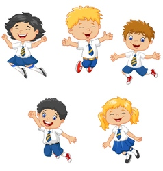 Little kids smiling and jumping together vector image