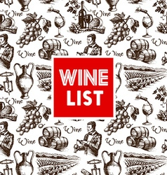 Vintage wine menu background Hand drawn sketch vector image vector image