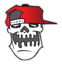 cartoon skull in baseball cap vector image
