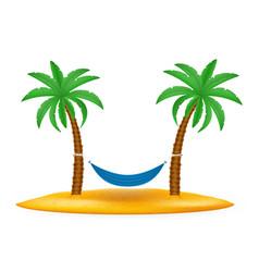 hammock suspended between palm trees stock vector image