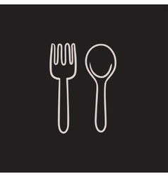 Spoon and fork sketch icon vector image vector image