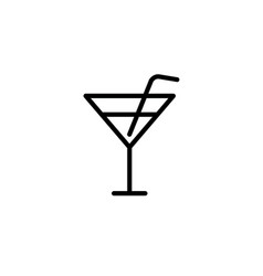 cocktail icon thin line black vector image
