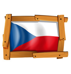 czech republic flag in wooden frame vector image vector image
