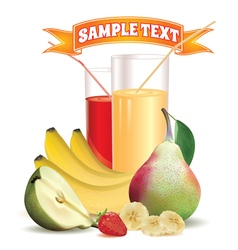 glasses with juice bananas and pear strawberry vector image vector image