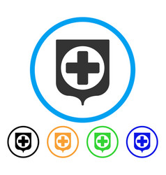 medical cross shield rounded icon vector image vector image