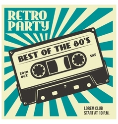 Retro party poster template with audio cassette vector image