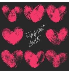 Set of 8 fingerprint hearts vector image vector image
