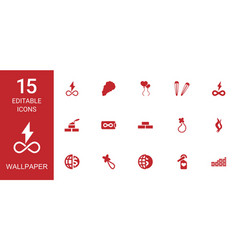 15 wallpaper icons vector image