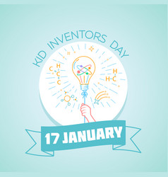 17 january kid inventors day vector