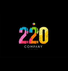 220 number grunge color rainbow numeral digit logo vector image