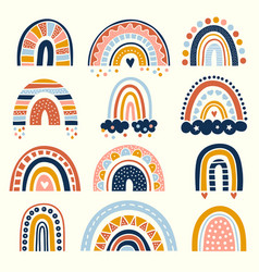 Abstract rainbow scandinavian graphic curved vector