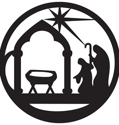 Adoration of the Magi silhouette icon black white vector