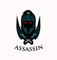 Assassins dark warrior helmet and dagger bold vector