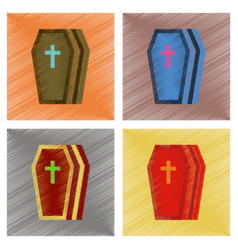 assembly flat shading style icons halloween coffin vector image