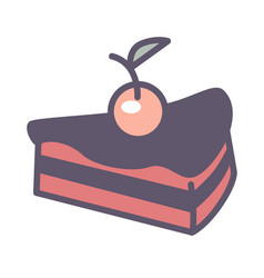 baked glazed cake with cherry on top bakery food vector image