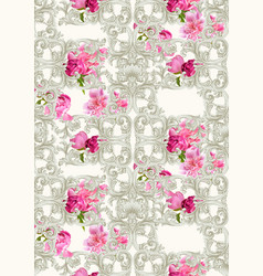 baroque luxury ornament with roses pattern vector image