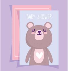 Bashower cute teddy bear love heart cartoon vector