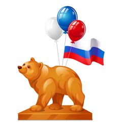 Bear statue is a symbol of power colorful vector